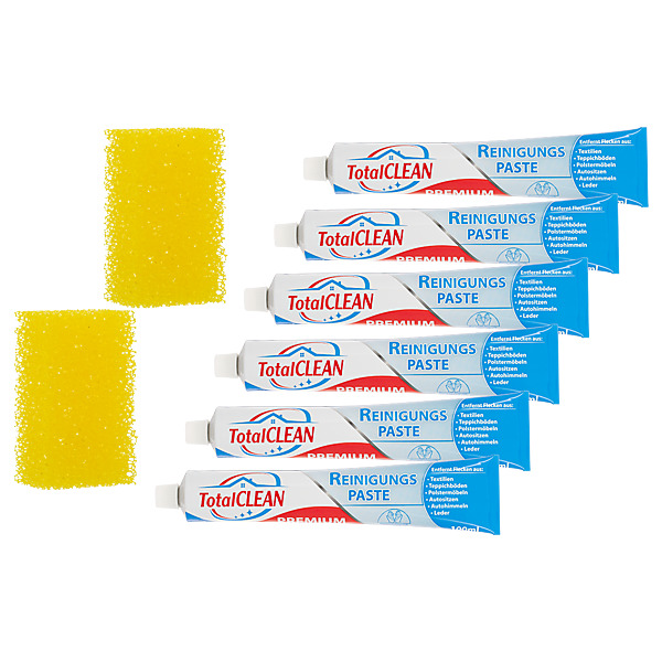 TOTAL CLEAN - Pâte détachante Lot de 6 + 2 Eponges